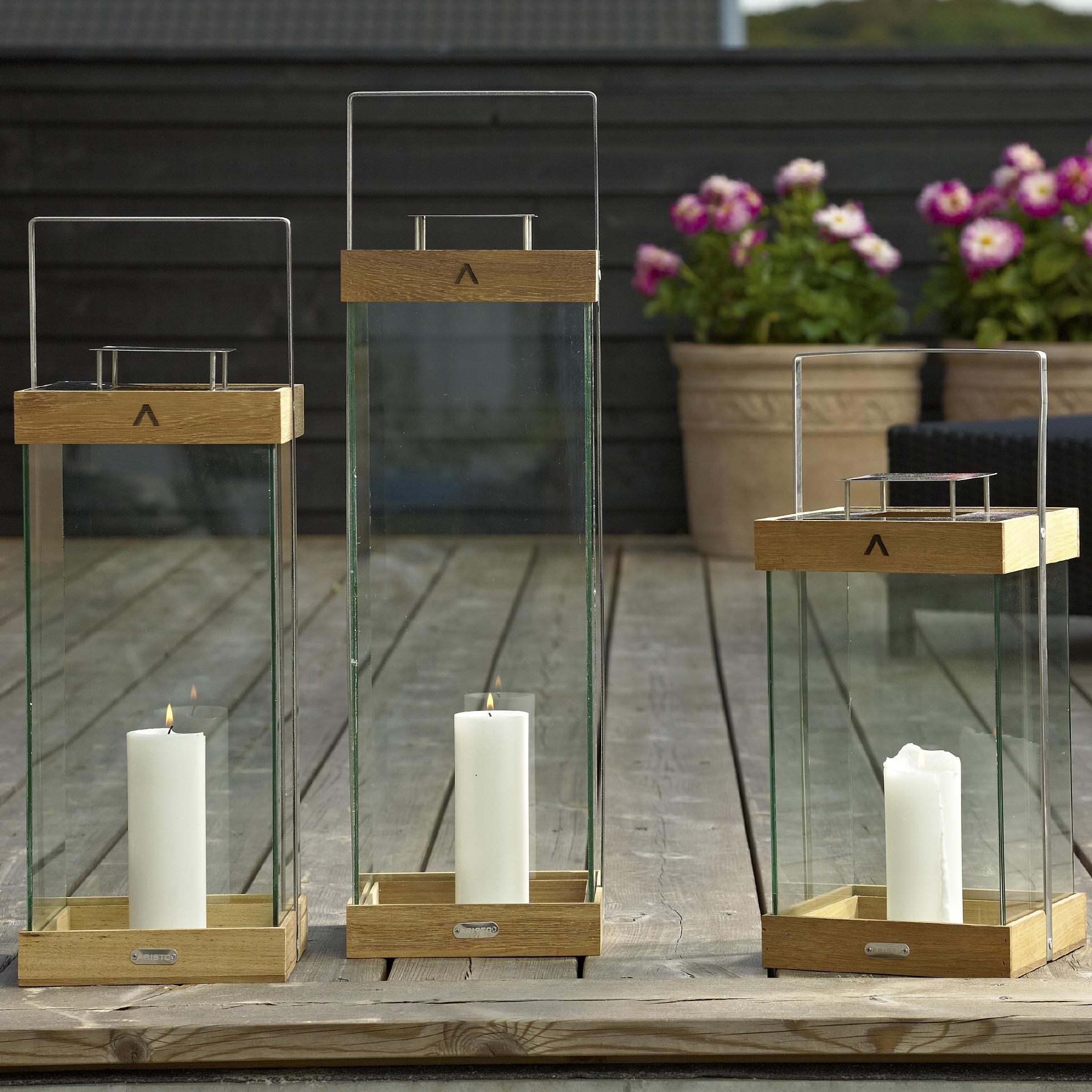 sienna teak glas laternen von aristo. Black Bedroom Furniture Sets. Home Design Ideas